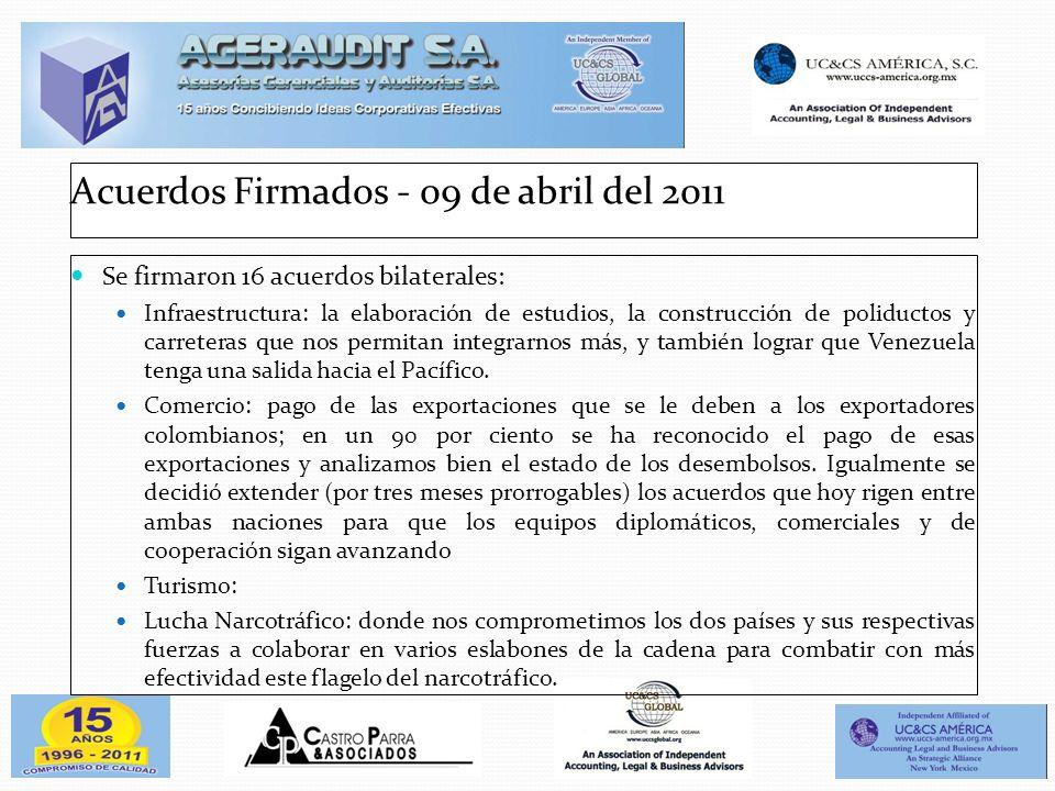 Acuerdos Firmados - 09 de abril del 2011 Se firmaron 16 acuerdos bilaterales: Infraestructura: la elaboración de estudios, la construcción de poliduct