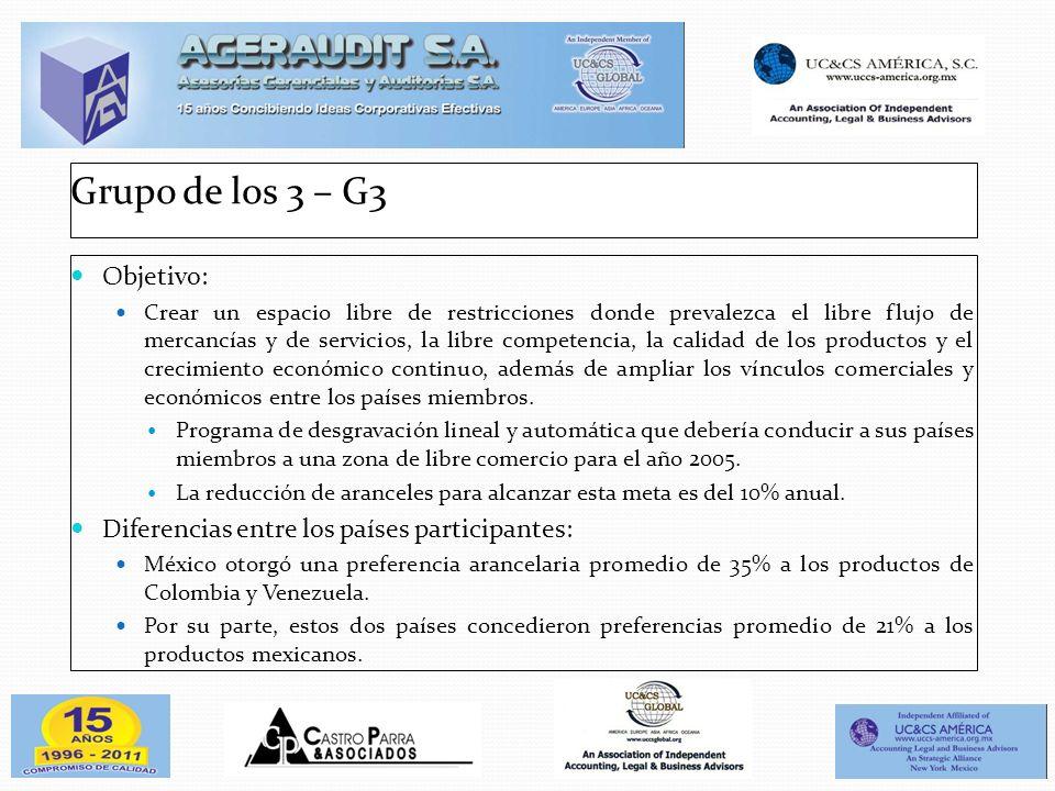Grupo de los 3 – G3 Objetivo: Crear un espacio libre de restricciones donde prevalezca el libre flujo de mercancías y de servicios, la libre competenc