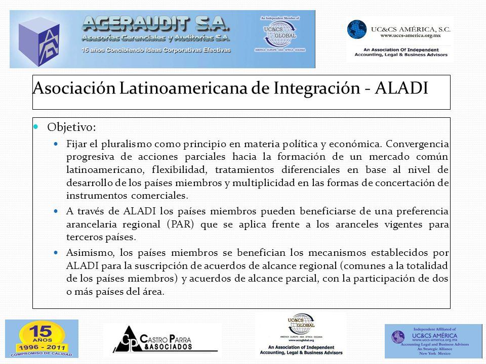 Asociación Latinoamericana de Integración - ALADI Objetivo: Fijar el pluralismo como principio en materia política y económica. Convergencia progresiv