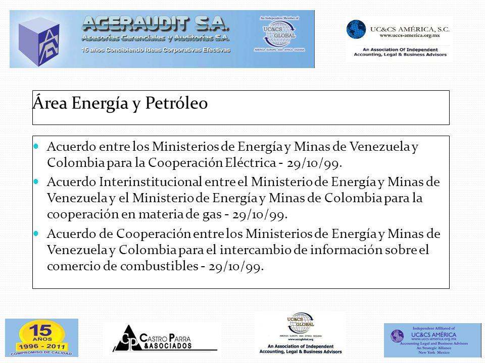 Área Energía y Petróleo Acuerdo entre los Ministerios de Energía y Minas de Venezuela y Colombia para la Cooperación Eléctrica - 29/10/99. Acuerdo Int