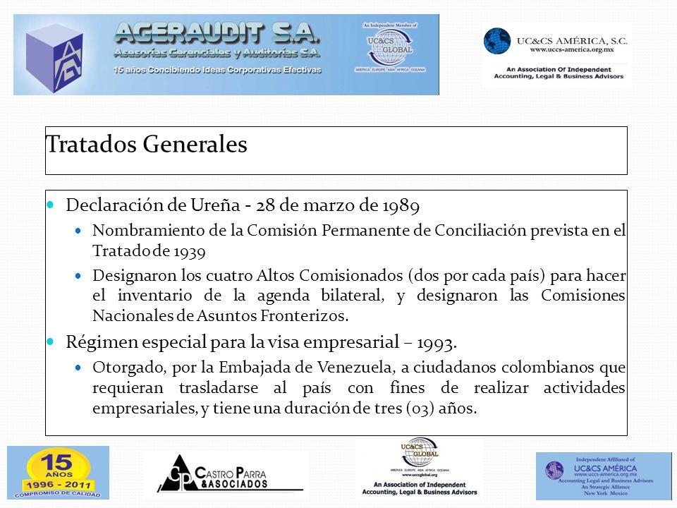 Tratados Generales Declaración de Ureña - 28 de marzo de 1989 Nombramiento de la Comisión Permanente de Conciliación prevista en el Tratado de 1939 De