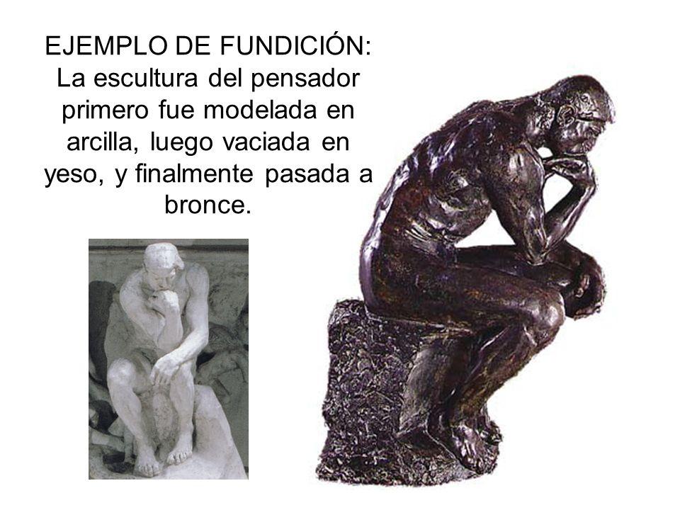 En Escultura el más usual es el de la cera perdida También muy frecuente el de la cascarilla cerámica.