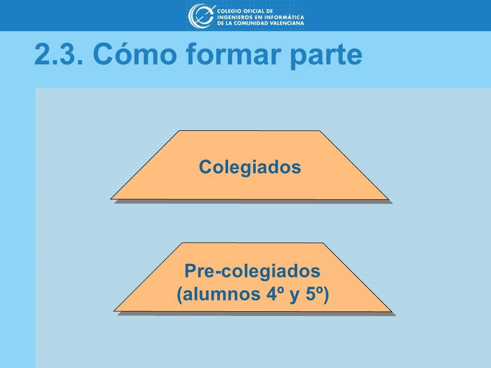 2.3. Cómo formar parte Colegiados Pre-colegiados (alumnos 4º y 5º)
