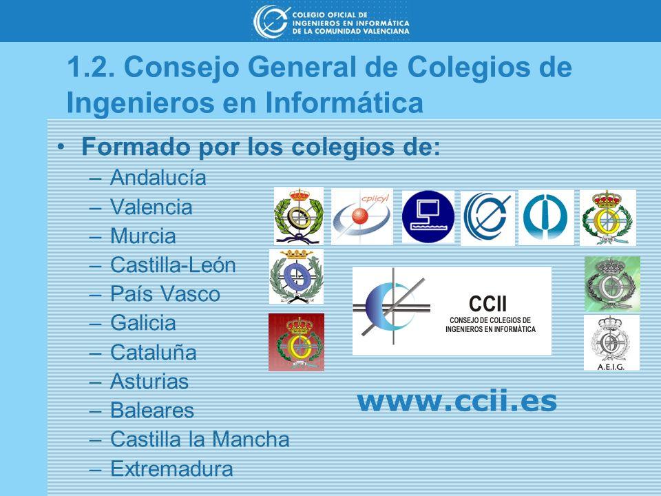 1.2. Consejo General de Colegios de Ingenieros en Informática Formado por los colegios de: –Andalucía –Valencia –Murcia –Castilla-León –País Vasco –Ga
