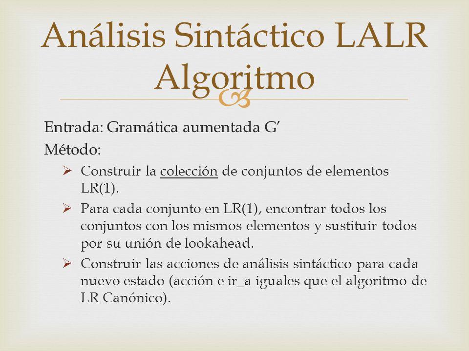 Entrada: Gramática aumentada G Método: Construir la colección de conjuntos de elementos LR(1).
