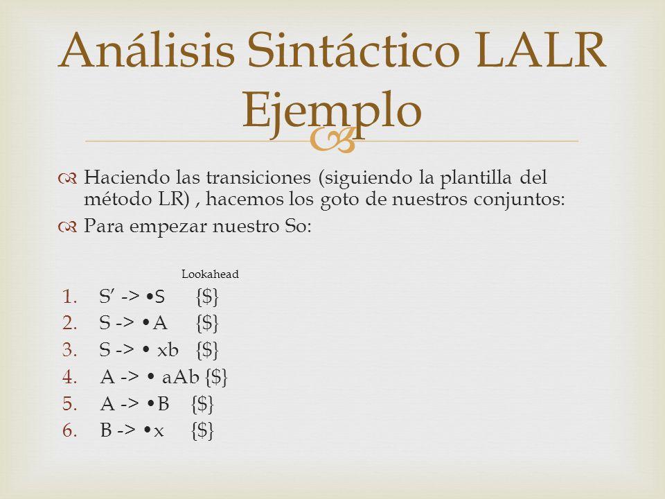 Haciendo las transiciones (siguiendo la plantilla del método LR), hacemos los goto de nuestros conjuntos: Para empezar nuestro So: Lookahead 1.S -> S