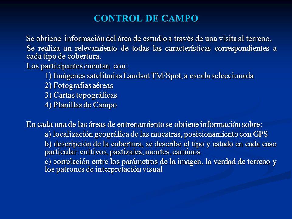 CONTROL DE CAMPO Se obtiene información del área de estudio a través de una visita al terreno. Se obtiene información del área de estudio a través de