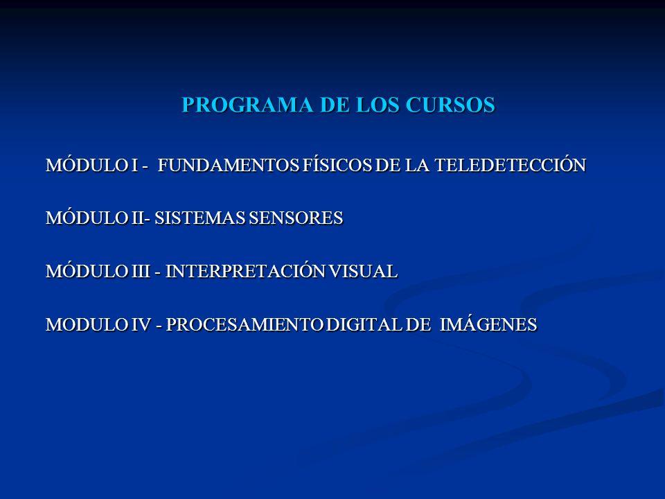 PROGRAMA DE LOS CURSOS MÓDULO I - FUNDAMENTOS FÍSICOS DE LA TELEDETECCIÓN MÓDULO II- SISTEMAS SENSORES MÓDULO III - INTERPRETACIÓN VISUAL MODULO IV -
