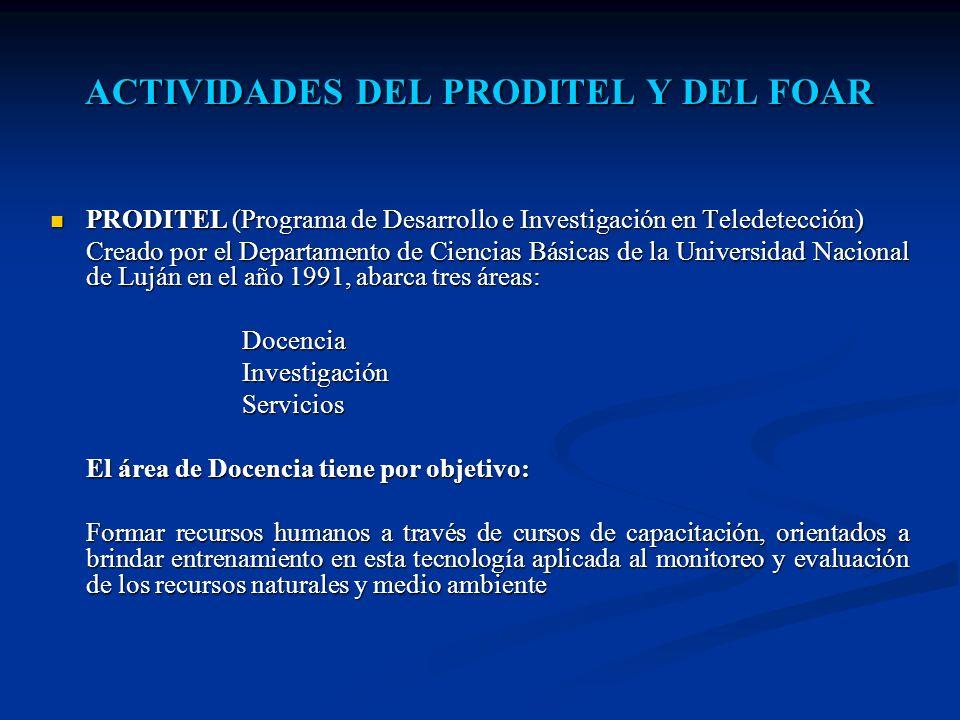 ACTIVIDADES DEL PRODITEL Y DEL FOAR PRODITEL (Programa de Desarrollo e Investigación en Teledetección) PRODITEL (Programa de Desarrollo e Investigació
