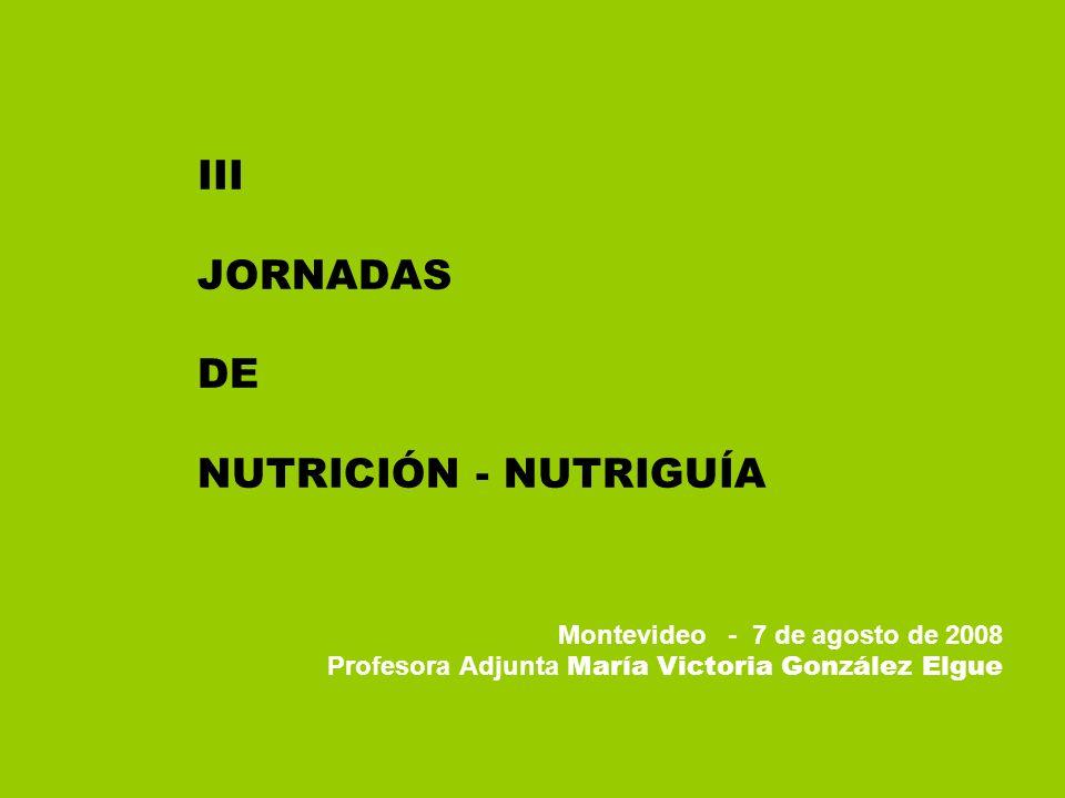 III JORNADAS DE NUTRICIÓN - NUTRIGUÍA Montevideo - 7 de agosto de 2008 Profesora Adjunta María Victoria González Elgue