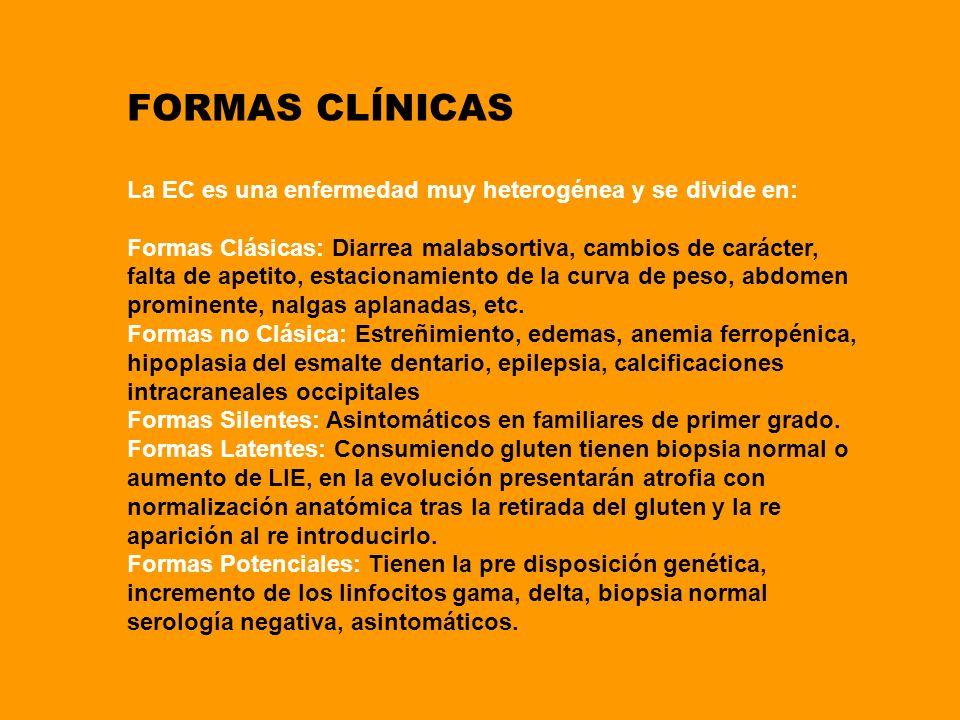 FORMAS CLÍNICAS La EC es una enfermedad muy heterogénea y se divide en: Formas Clásicas: Diarrea malabsortiva, cambios de carácter, falta de apetito,