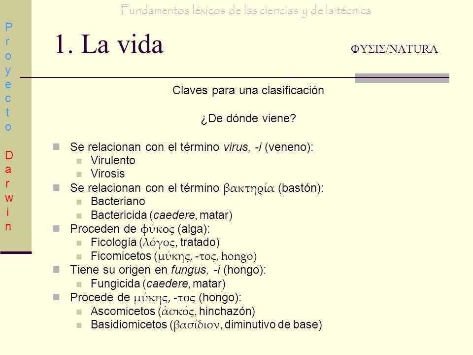 1. La vida ΦΥΣΙΣ/NATURA Claves para una clasificación ¿De dónde viene? Se relacionan con el término virus, -i (veneno): Virulento Virosis Se relaciona