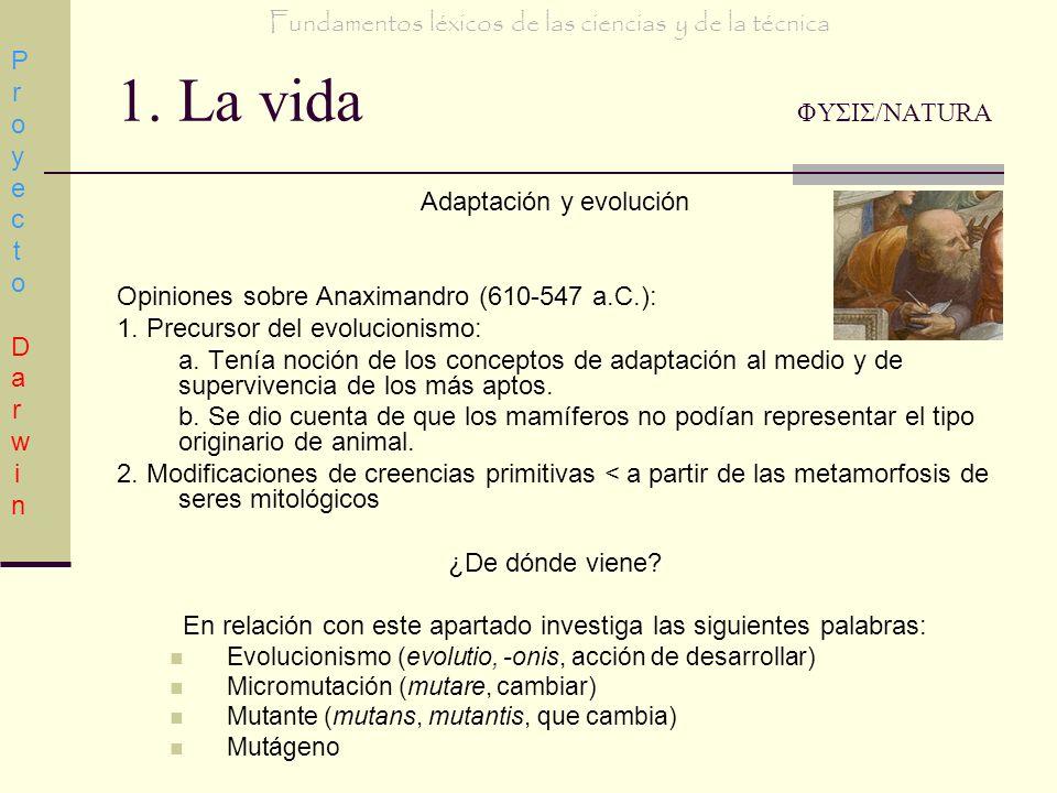 1. La vida ΦΥΣΙΣ/NATURA Adaptación y evolución Opiniones sobre Anaximandro (610-547 a.C.): 1. Precursor del evolucionismo: a. Tenía noción de los conc