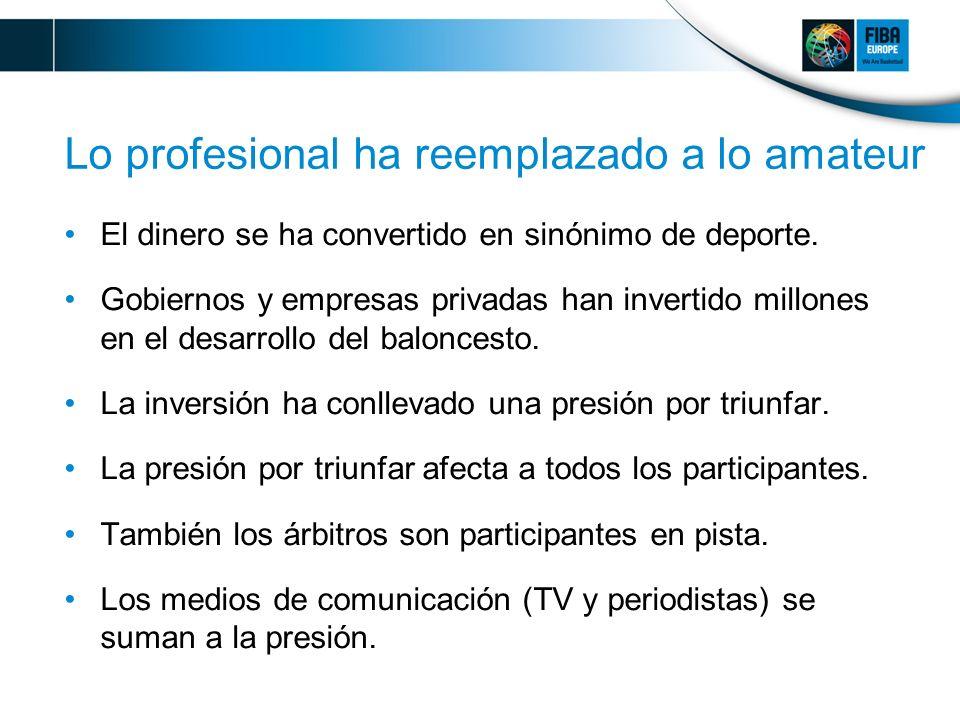 Lo profesional ha reemplazado a lo amateur El dinero se ha convertido en sinónimo de deporte.