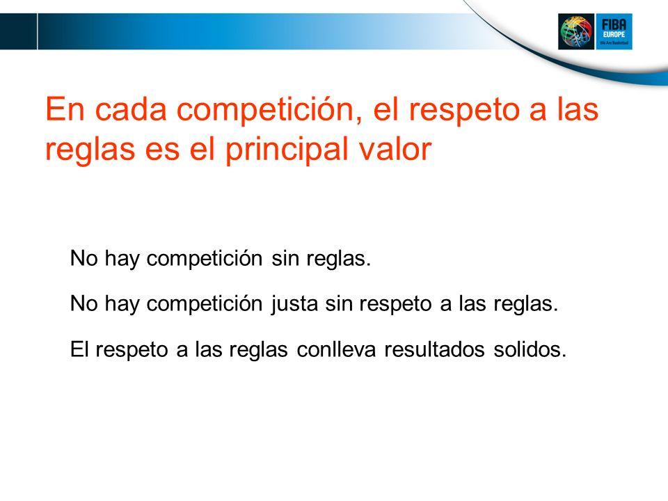 En cada competición, el respeto a las reglas es el principal valor No hay competición sin reglas.