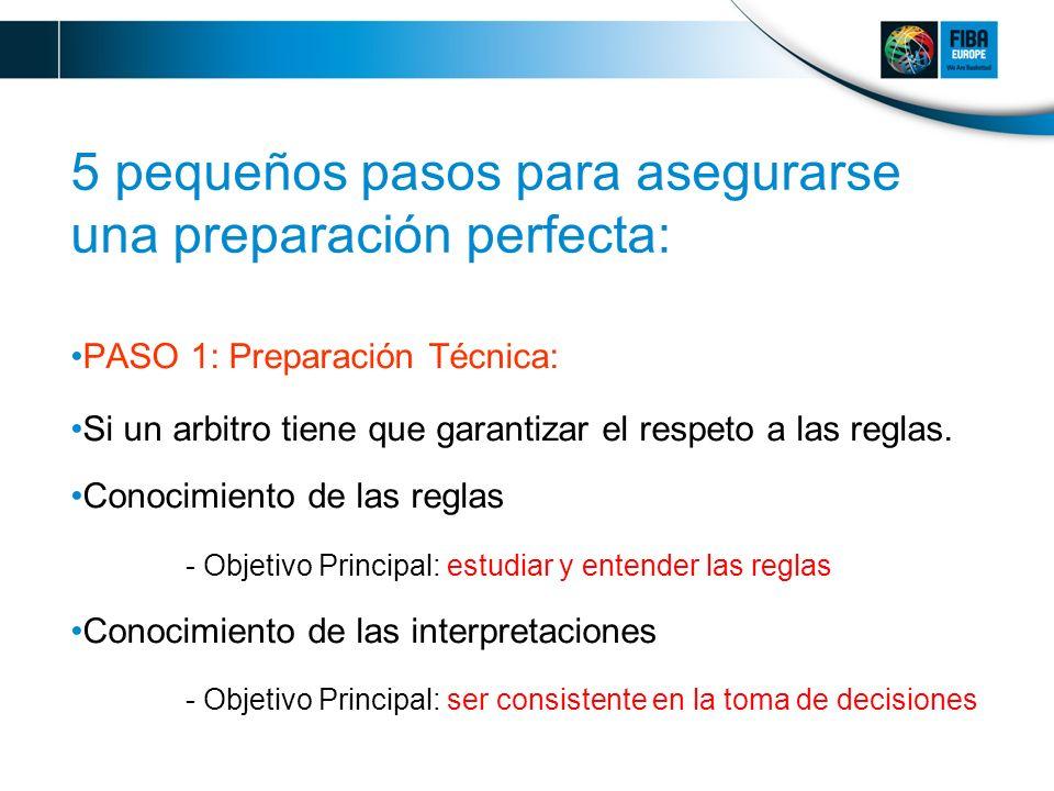 5 pequeños pasos para asegurarse una preparación perfecta: PASO 1: Preparación Técnica: Si un arbitro tiene que garantizar el respeto a las reglas.