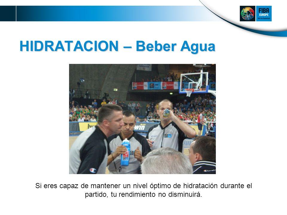 HIDRATACION – Beber Agua Si eres capaz de mantener un nivel óptimo de hidratación durante el partido, tu rendimiento no disminuirá.