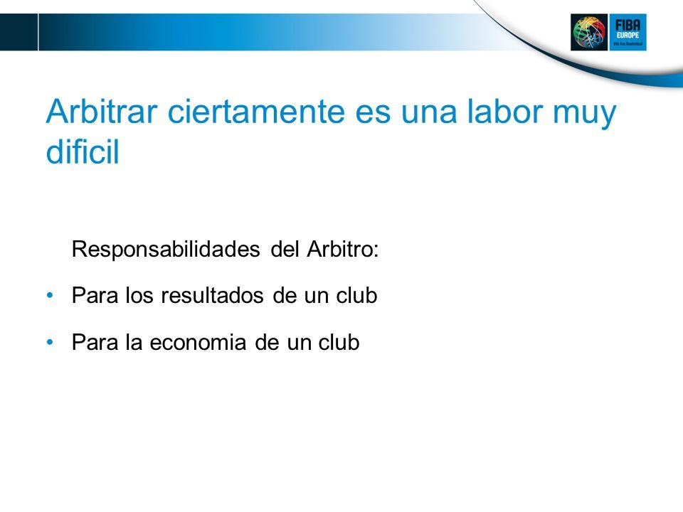 Arbitrar ciertamente es una labor muy dificil Responsabilidades del Arbitro: Para los resultados de un club Para la economia de un club