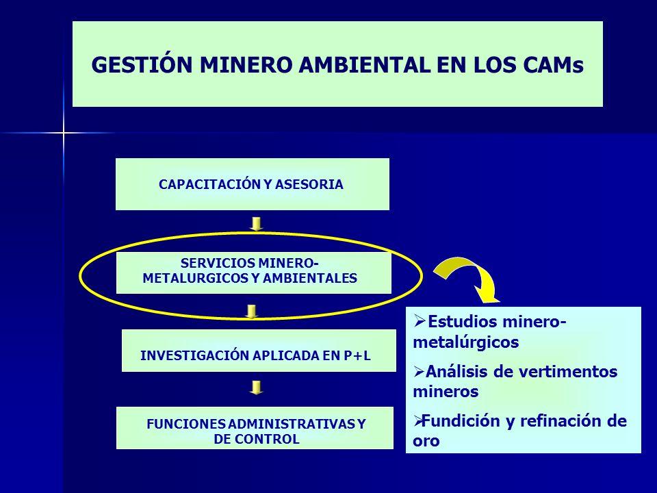 CAPACITACIÓN Y ASESORIA Estudios minero- metalúrgicos Análisis de vertimentos mineros Fundición y refinación de oro INVESTIGACIÓN APLICADA EN P+L FUNC