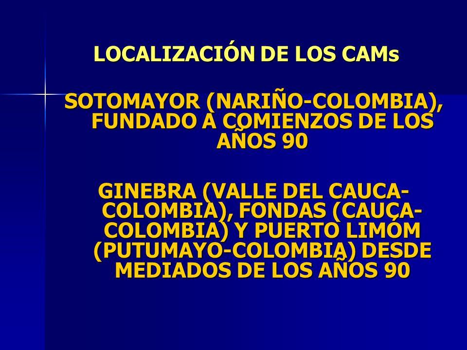 SOTOMAYOR (NARIÑO-COLOMBIA), FUNDADO A COMIENZOS DE LOS AÑOS 90 GINEBRA (VALLE DEL CAUCA- COLOMBIA), FONDAS (CAUCA- COLOMBIA) Y PUERTO LIMÓM (PUTUMAYO