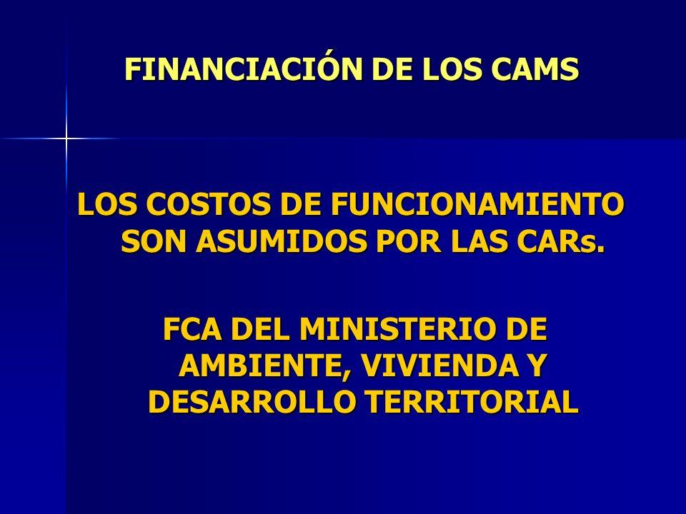 LOS COSTOS DE FUNCIONAMIENTO SON ASUMIDOS POR LAS CARs. FCA DEL MINISTERIO DE AMBIENTE, VIVIENDA Y DESARROLLO TERRITORIAL FCA DEL MINISTERIO DE AMBIEN