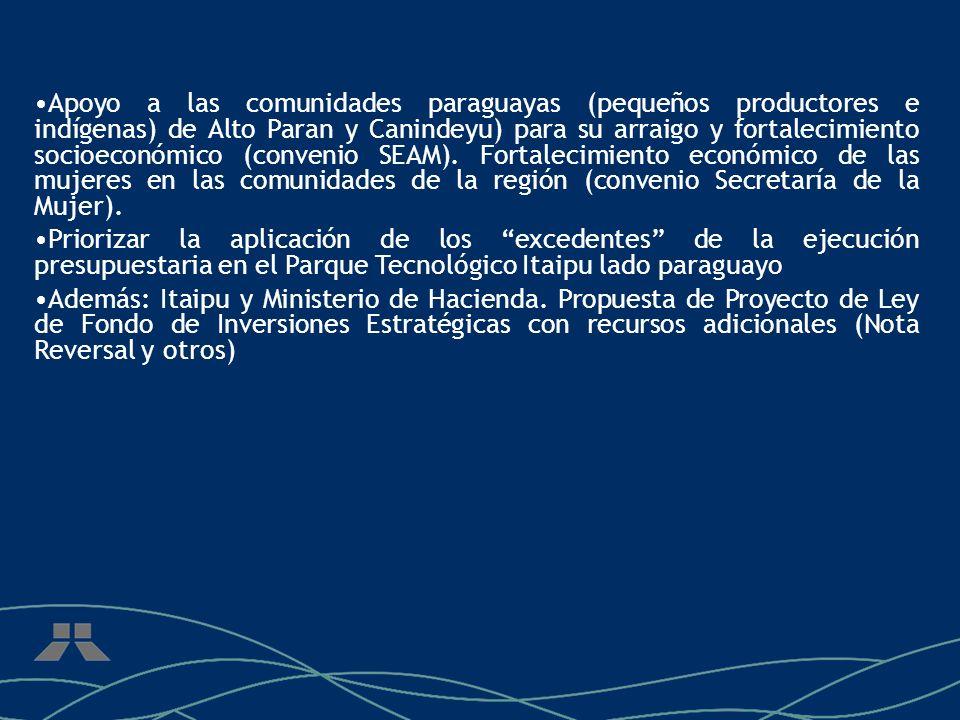 Apoyo a las comunidades paraguayas (pequeños productores e indígenas) de Alto Paran y Canindeyu) para su arraigo y fortalecimiento socioeconómico (convenio SEAM).