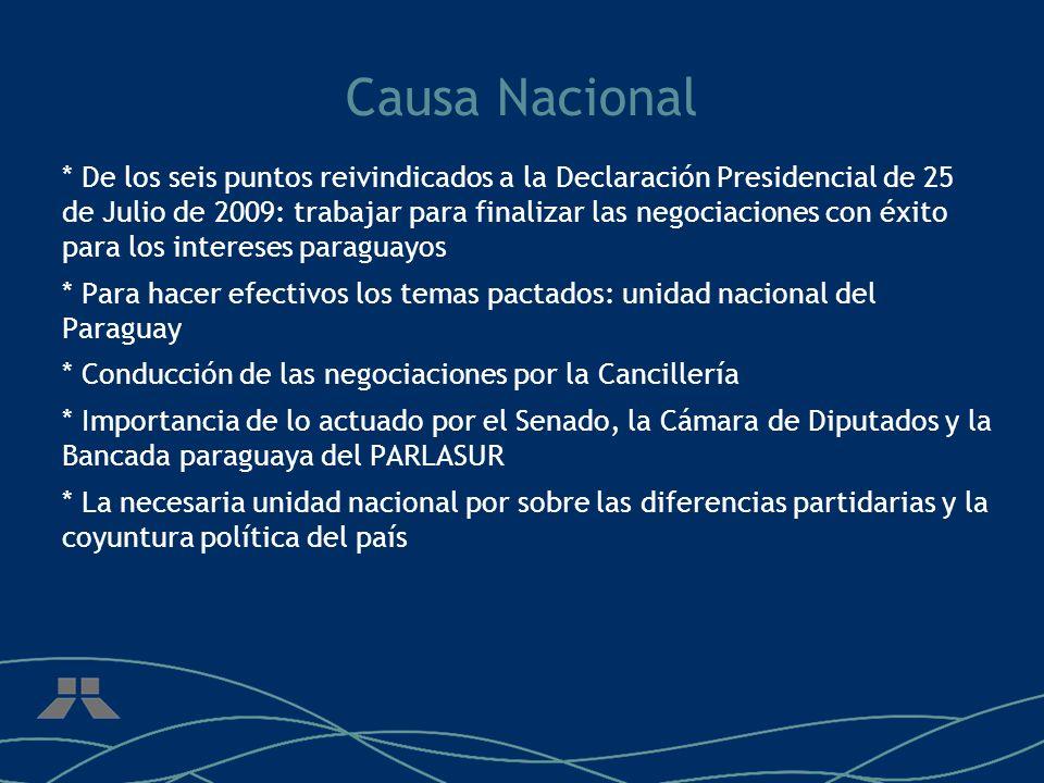 Principales temas de la Declaración * Aumento de la compensación * Venta directa al mercado brasileño, integración regional * Línea de 500 Kv Itaipu-V.