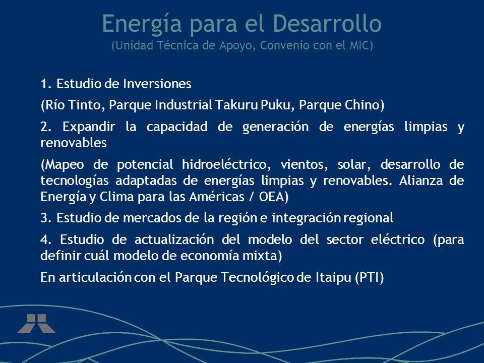 Energía para el Desarrollo (Unidad Técnica de Apoyo, Convenio con el MIC) 1.