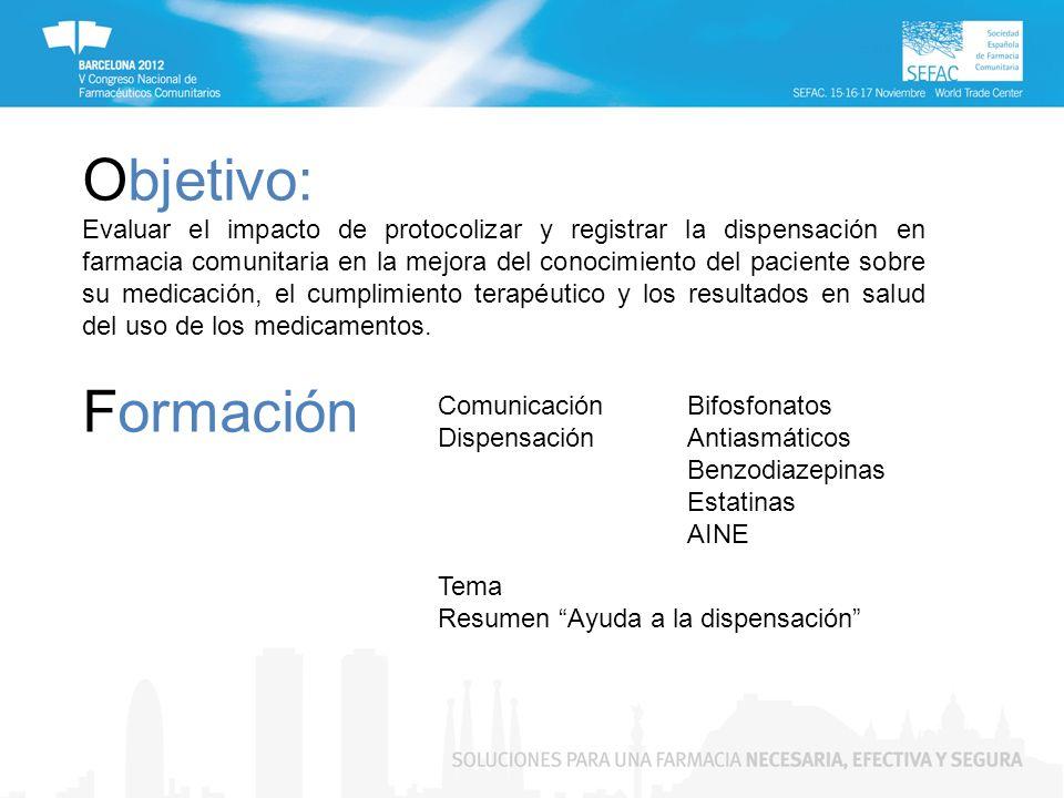 Formación Comunicación Dispensación Tema Resumen Ayuda a la dispensación Objetivo: Evaluar el impacto de protocolizar y registrar la dispensación en f
