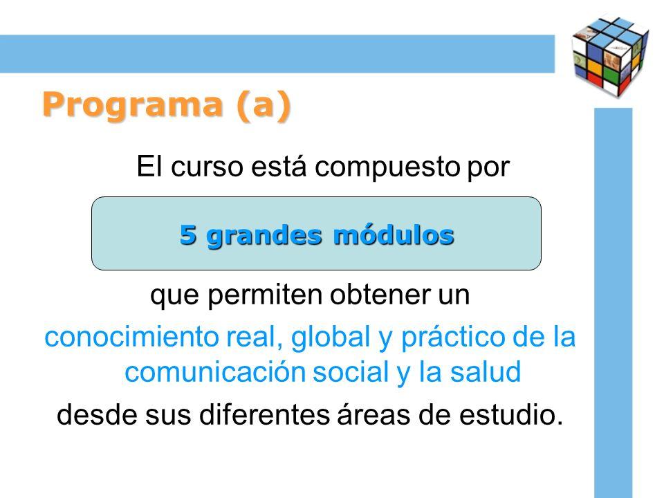 Programa (a) El curso está compuesto por que permiten obtener un conocimiento real, global y práctico de la comunicación social y la salud desde sus d