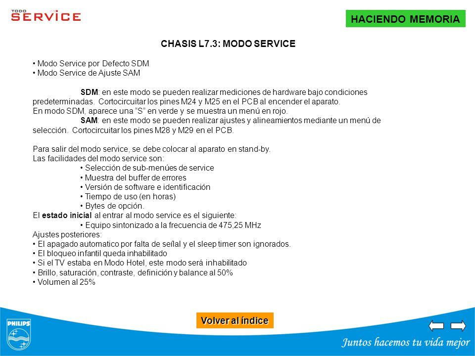 Volver al índice Volver al índice HACIENDO MEMORIA CHASIS L7.3: MODO SERVICE Modo Service por Defecto SDM Modo Service de Ajuste SAM SDM: en este modo