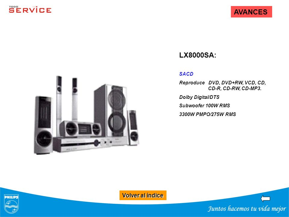 Volver al índice Volver al índice AVANCES LX8000SA: SACD Reproduce DVD, DVD+RW, VCD, CD, CD-R, CD-RW, CD-MP3. Dolby Digital/DTS Subwoofer 100W RMS 330