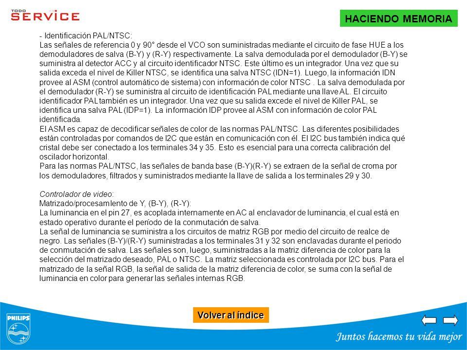 Volver al índice Volver al índice HACIENDO MEMORIA - Identificación PAL/NTSC: Las señales de referencia 0 y 90° desde el VCO son suministradas mediant