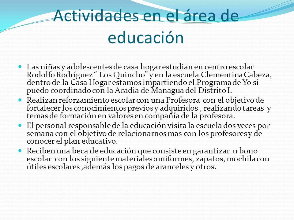 Actividades en el área de educación Las niñas y adolescentes de casa hogar estudian en centro escolar Rodolfo Rodríguez Los Quincho y en la escuela Cl
