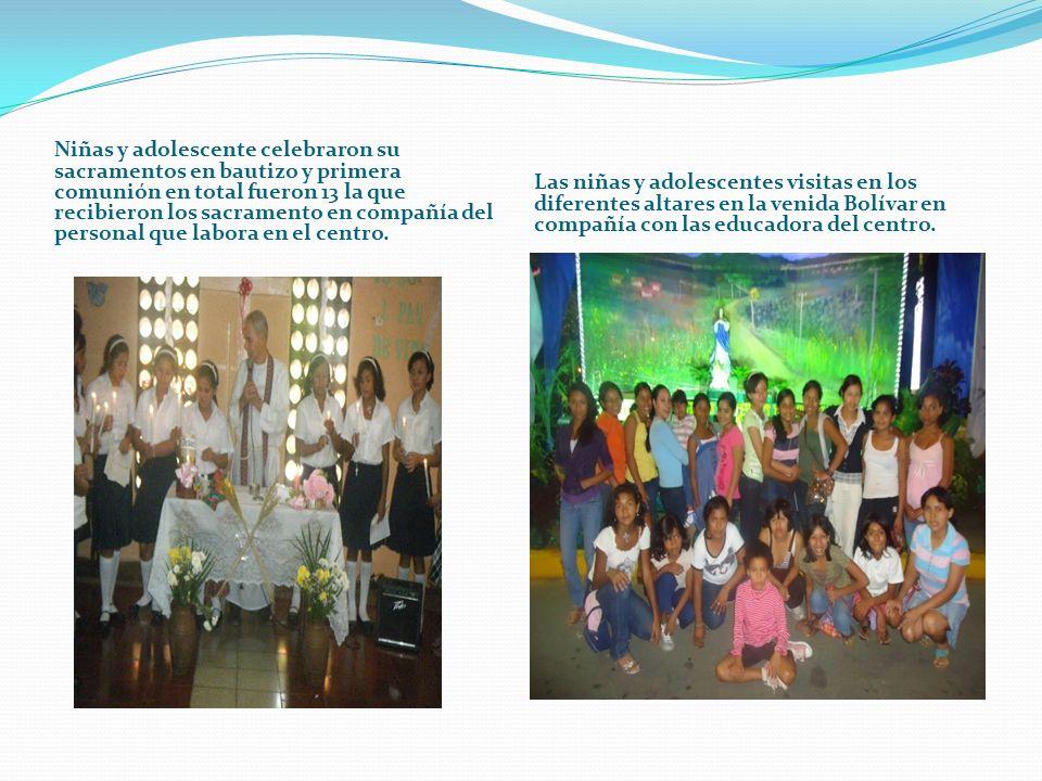 Niñas y adolescente celebraron su sacramentos en bautizo y primera comunión en total fueron 13 la que recibieron los sacramento en compañía del person