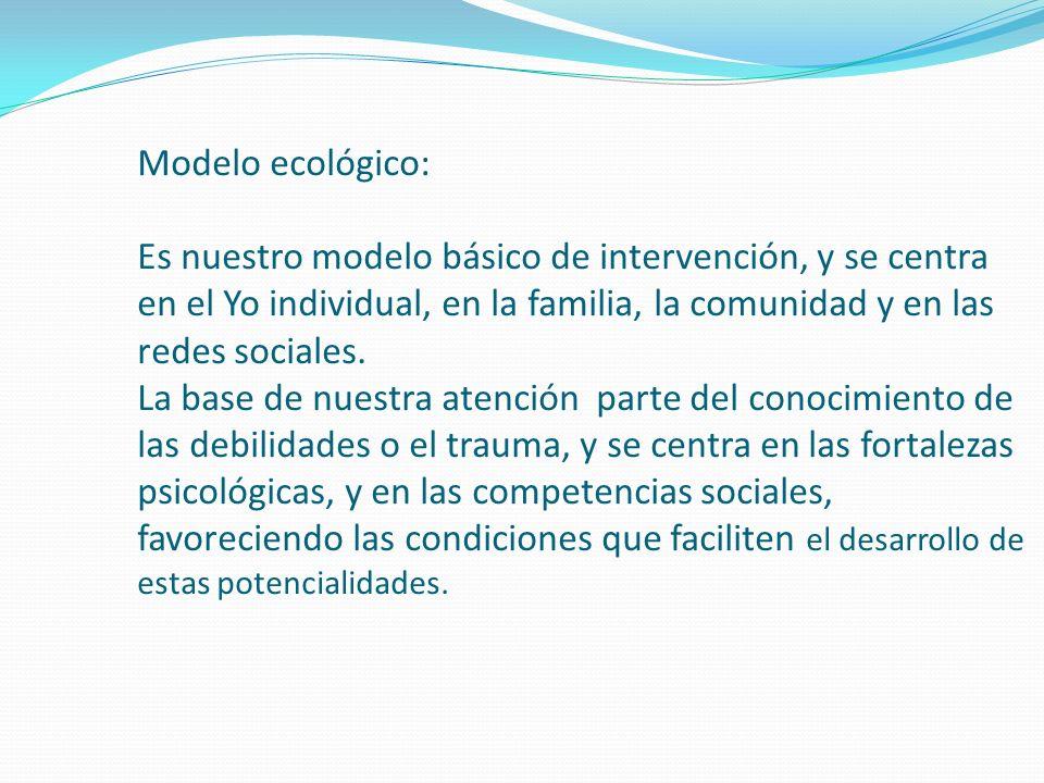 Modelo ecológico: Es nuestro modelo básico de intervención, y se centra en el Yo individual, en la familia, la comunidad y en las redes sociales. La b
