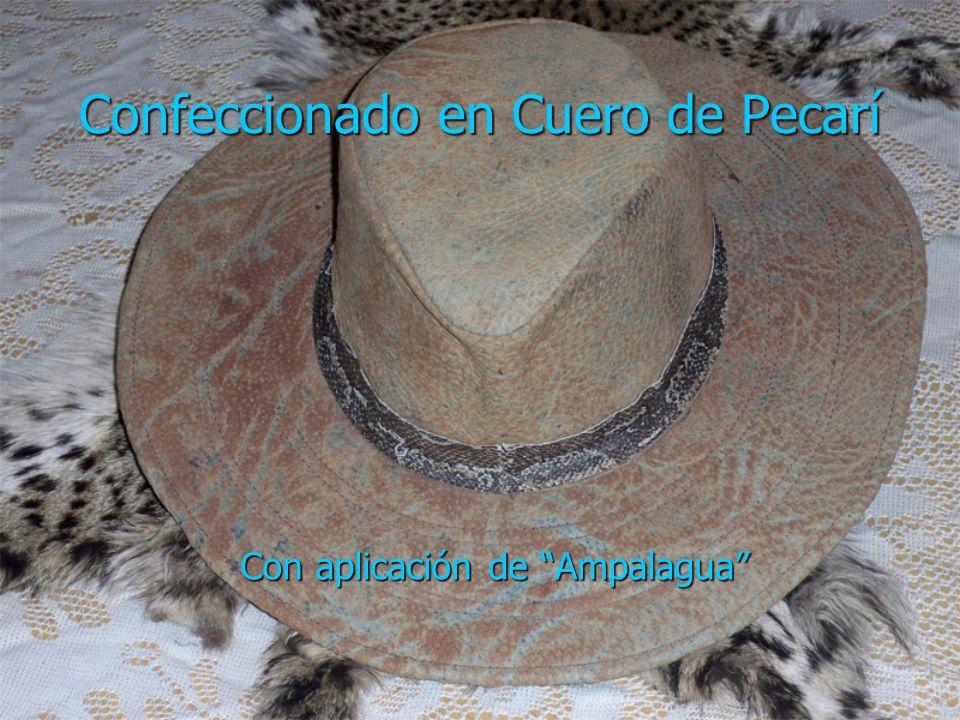 Sombrero Cabra Gamuzada Fina confección con aplicaciones de reptil