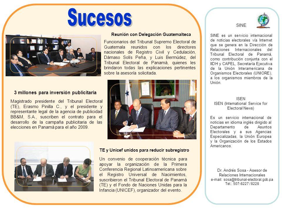 Funcionarios del Tribunal Supremo Electoral de Guatemala reunidos con los directores nacionales de Registro Civil y Cedulación, Dámaso Solís Peña, y L