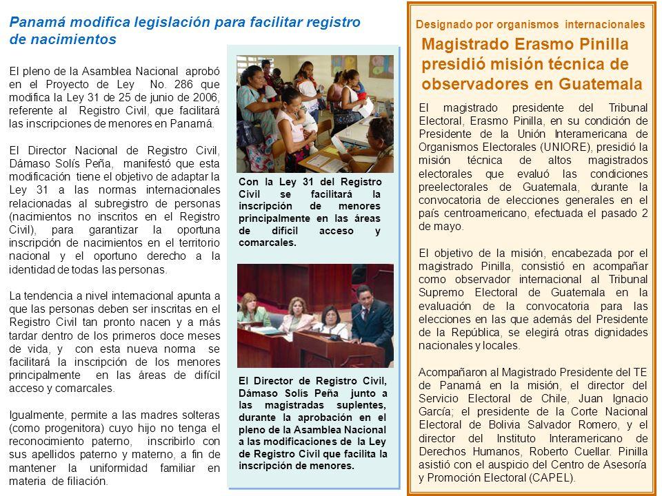 Designado por organismos internacionales Magistrado Erasmo Pinilla presidió misión técnica de observadores en Guatemala El magistrado presidente del T