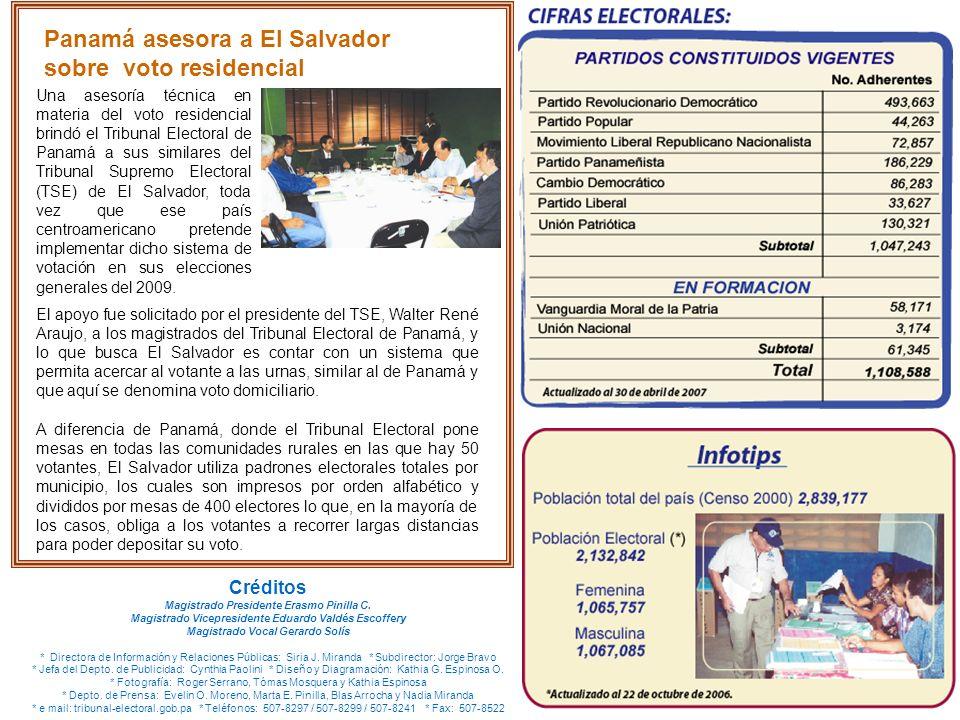 Panamá asesora a El Salvador sobre voto residencial Una asesoría técnica en materia del voto residencial brindó el Tribunal Electoral de Panamá a sus similares del Tribunal Supremo Electoral (TSE) de El Salvador, toda vez que ese país centroamericano pretende implementar dicho sistema de votación en sus elecciones generales del 2009.