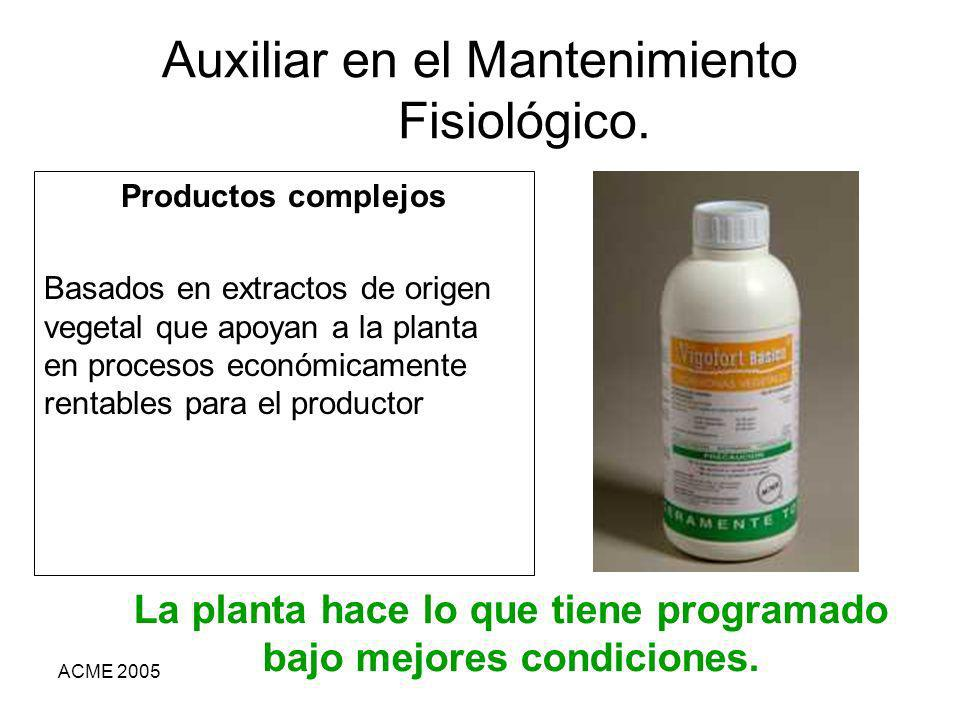 ACME 2005 Auxiliar en el Mantenimiento Fisiológico. Productos complejos Basados en extractos de origen vegetal que apoyan a la planta en procesos econ