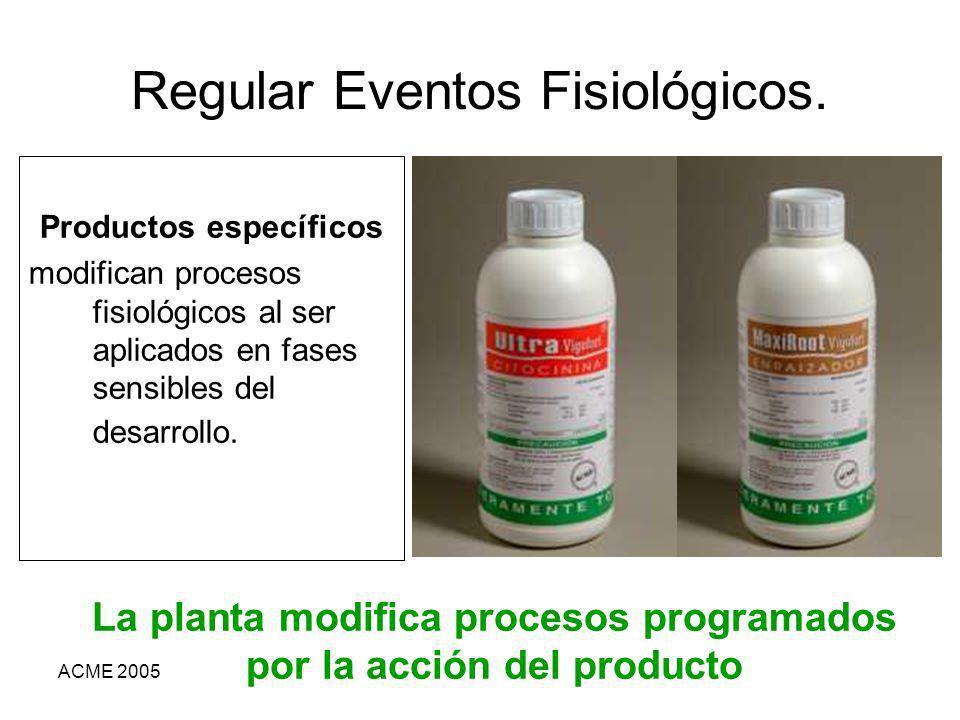 ACME 2005 Regular Eventos Fisiológicos. Productos específicos modifican procesos fisiológicos al ser aplicados en fases sensibles del desarrollo. La p