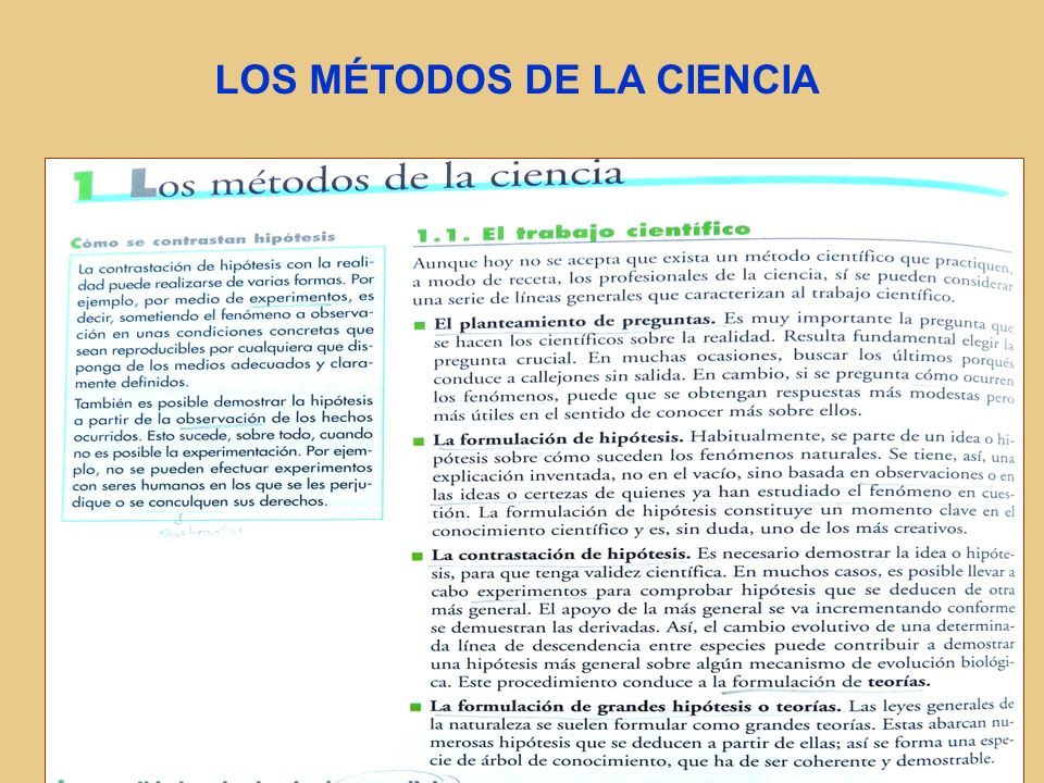 LOS MÉTODOS DE LA CIENCIA