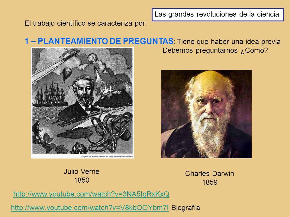 El trabajo científico se caracteriza por: 1 – PLANTEAMIENTO DE PREGUNTAS : Tiene que haber una idea previa Debemos preguntarnos ¿Cómo? Julio Verne 185
