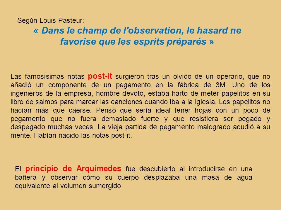 Según Louis Pasteur: « Dans le champ de l'observation, le hasard ne favorise que les esprits préparés » Las famosísimas notas post-it surgieron tras u