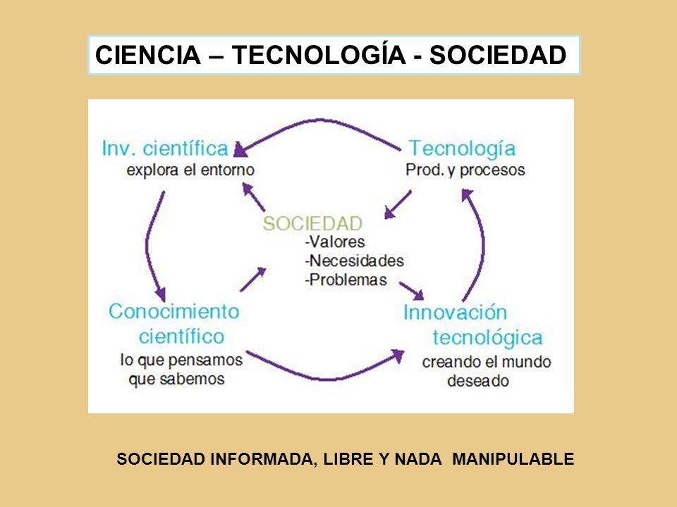 CIENCIA – TECNOLOGÍA - SOCIEDAD SOCIEDAD INFORMADA, LIBRE Y NADA MANIPULABLE