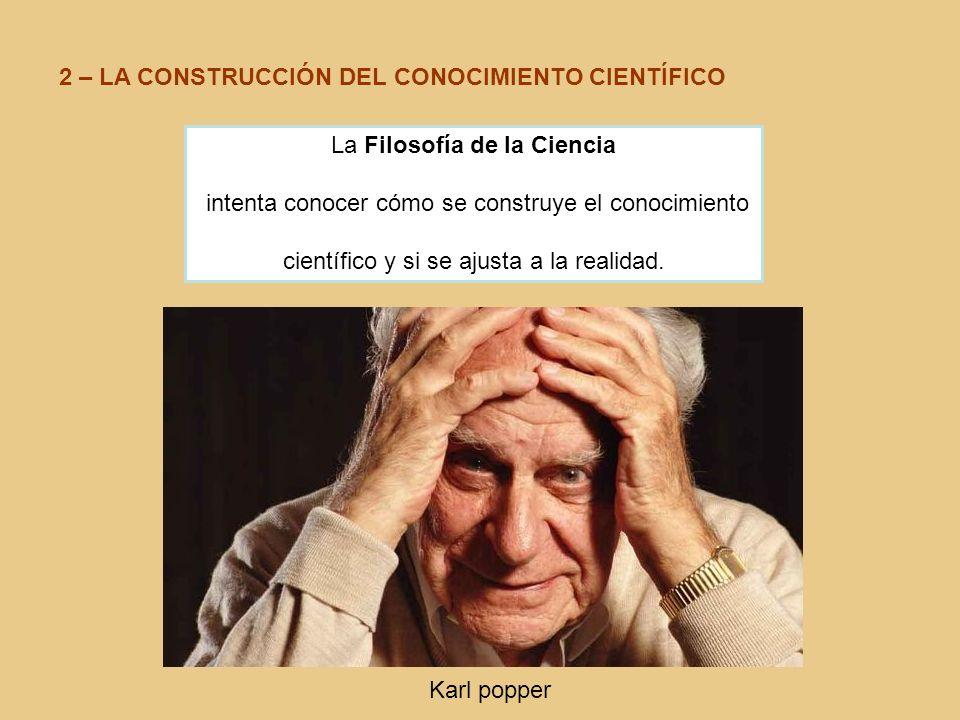 2 – LA CONSTRUCCIÓN DEL CONOCIMIENTO CIENTÍFICO La Filosofía de la Ciencia intenta conocer cómo se construye el conocimiento científico y si se ajusta