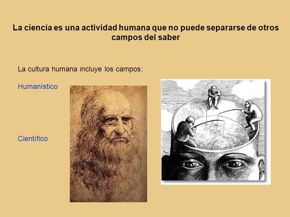La ciencia es una actividad humana que no puede separarse de otros campos del saber La cultura humana incluye los campos: Humanístico Científico