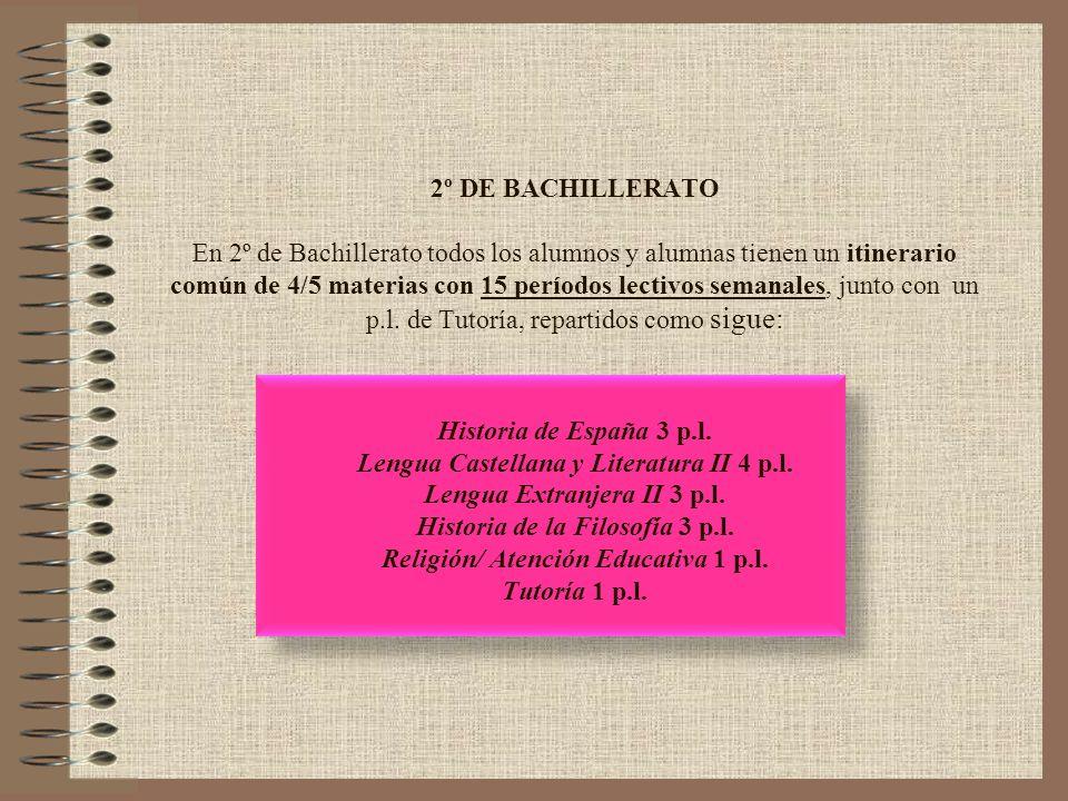 2º DE BACHILLERATO En 2º de Bachillerato todos los alumnos y alumnas tienen un itinerario común de 4/5 materias con 15 períodos lectivos semanales, ju