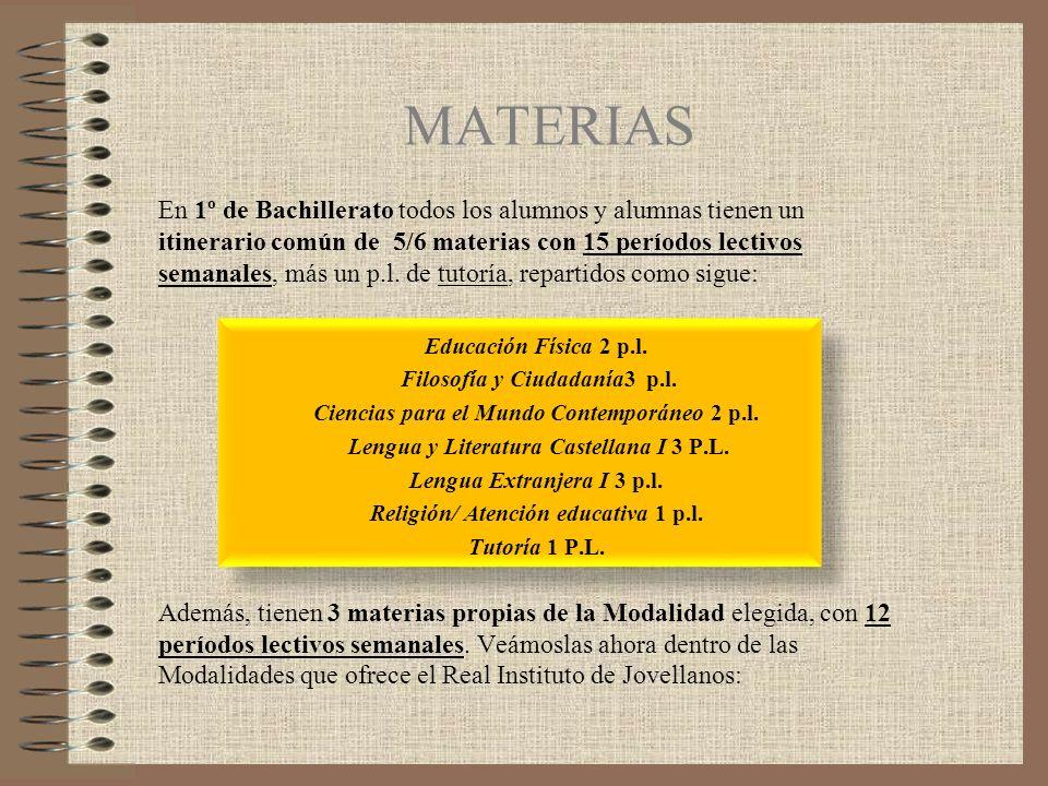 MODALIDADES Y MATERIAS Bloque 1.Técnica, Ciencias e Ingeniería Bloque 2.